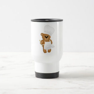 Cute Little Chef Costume Teddy Bear Cartoon Travel Mug