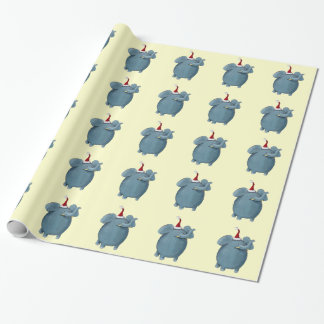 Cute Little Christmas Elephant Gift Wrapping Paper