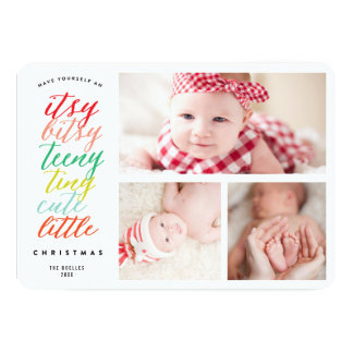 Cute Little Christmas Holiday Photo Collage Card 13 Cm X 18 Cm Invitation Card