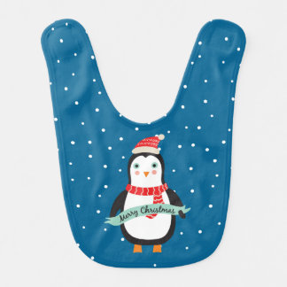 "Cute little Christmas Penguin ""Merry Christmas"" Bib"