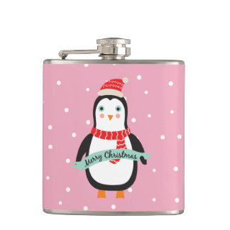 "Cute little Christmas Penguin ""Merry Christmas"" Flask"