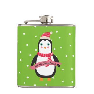 "Cute little Christmas Penguin ""Merry Christmas"" Flasks"