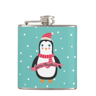 "Cute little Christmas Penguin ""Merry Christmas"" Hip Flask"