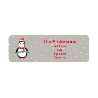 """Cute little Christmas Penguin """"Merry Christmas"""" Return Address Label"""