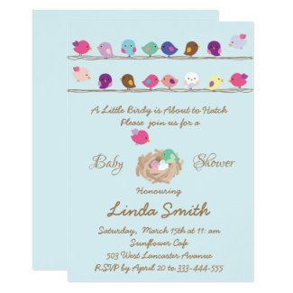 cute little colourful birds baby shower invitation