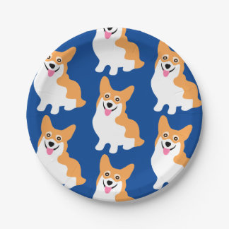 Cute Little Corgi Pattern 7 Inch Paper Plate