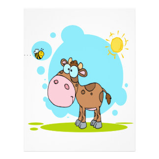 cute little cow and bumble bee in the sun 21.5 cm x 28 cm flyer