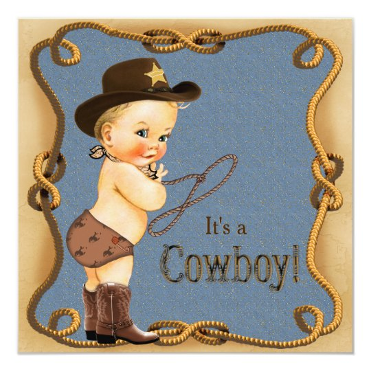 Cute Little Cowboy Baby Shower Card