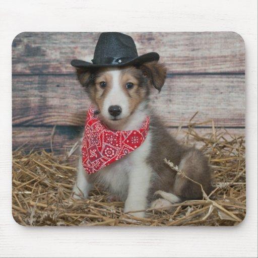Cute Little Cowboy Puppy Mouse Pad