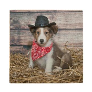 Cute Little Cowboy Puppy Wood Coaster
