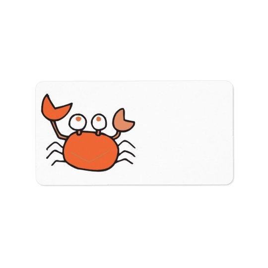 cute little crab cartoon graphic label