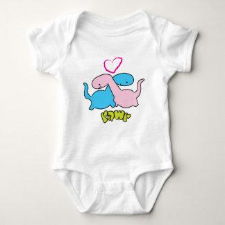 Cute little cuddling dinosaurs baby bodysuit