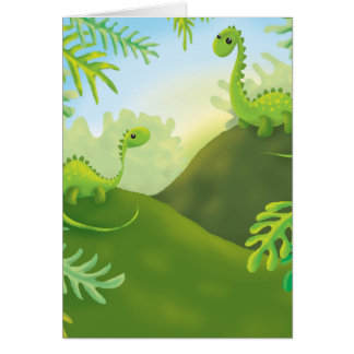 cute little dinosaur land scene card