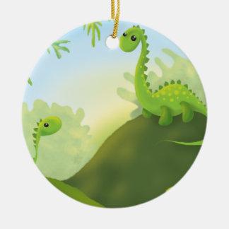 cute little dinosaur land scene christmas ornament