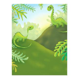 cute little dinosaur land scene full color flyer