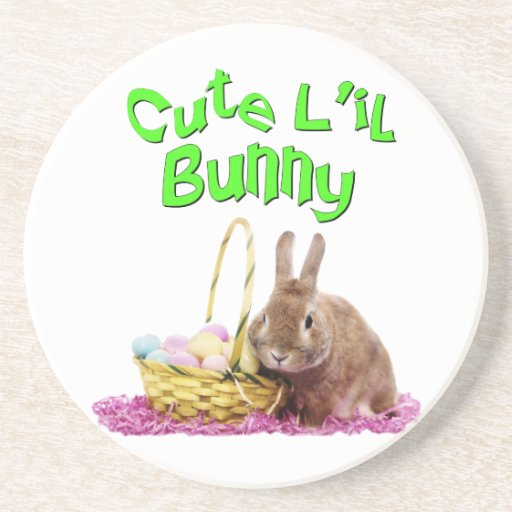 Cute Little Easter Bunny with Easter Eggs Beverage Coaster