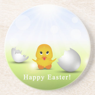 Cute Little Easter Chick - Sandstone Coaster
