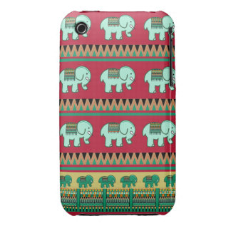 Cute little elephants and Aztec patterns iPhone 3 Case-Mate Cases