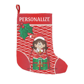 Cute Little Elf Girl Small Christmas Stocking