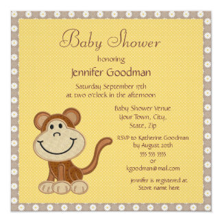 Cute Little Embroidery Monkey Baby Shower Card