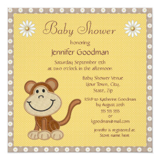 """Cute Little Embroidery Monkey Baby Shower 5.25"""" Square Invitation Card"""
