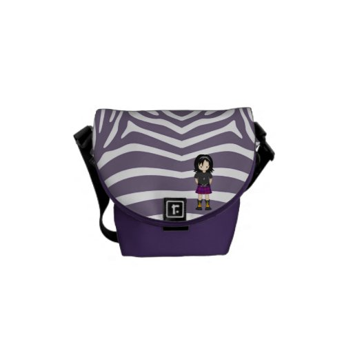 Cute Little Emo or Goth Girl Cartoon in Purples Courier Bag