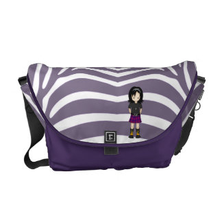 Cute Little Emo or Goth Girl Cartoon in Purples Messenger Bags