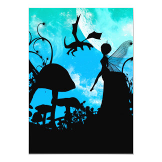 Cute little fairy with dragon 13 cm x 18 cm invitation card