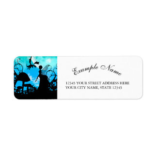 Cute little fairy with dragon in the night return address label
