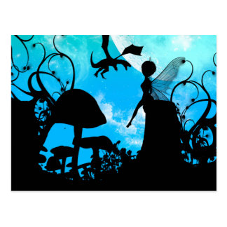 Cute little fairy with dragon postcard