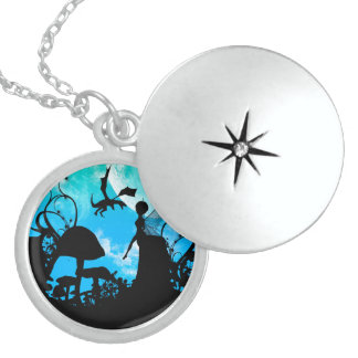 Cute little fairy with dragon round locket necklace