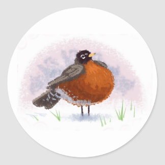 Cute little Fat Robin Classic Round Sticker