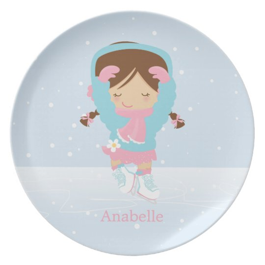 Cute Little Figure Skater Personalised Plate