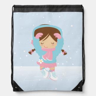 Cute Little Figure Skater Drawstring Backpacks