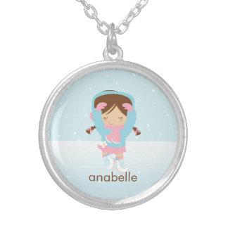 Cute Little Figure Skater Round Pendant Necklace