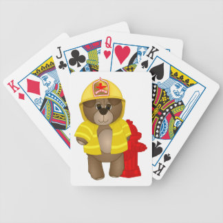 Cute Little Firefighter Kids Teddy Bear Cartoon Bicycle Playing Cards