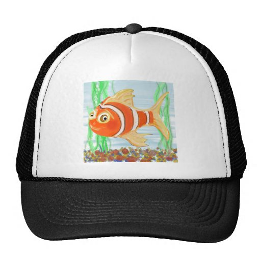 Cute Little Fishie Swimming In A Pool Mesh Hats
