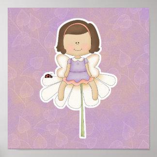 Cute Little Flower Fairy Girl Poster