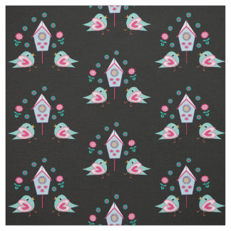 Cute Little flowers Birds and Bird Houses Fabric