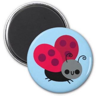Cute Little Flying Ladybug on Blue Fridge Magnets