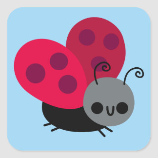 Cute Little Flying Ladybug on Blue Square Sticker