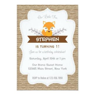 Cute Little Fox Birthday Invitation Woodland