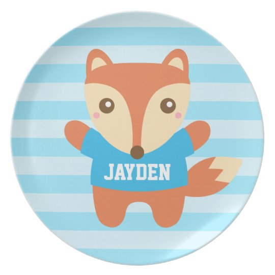 Cute little fox, Blue Stripes, For Boys Plate