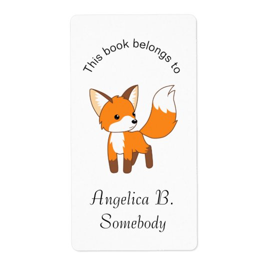 Cute Little Fox Bookplate