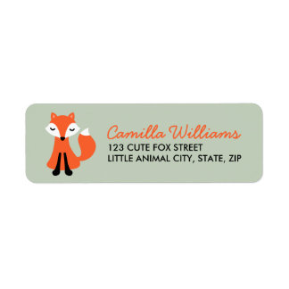 Cute little fox custom return address labels