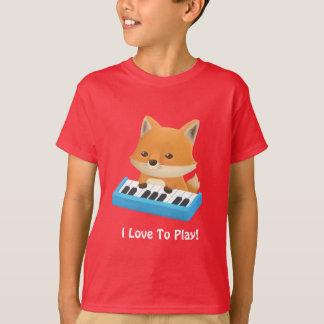 Cute Little Fox I Love to Play Piano Kids Tee