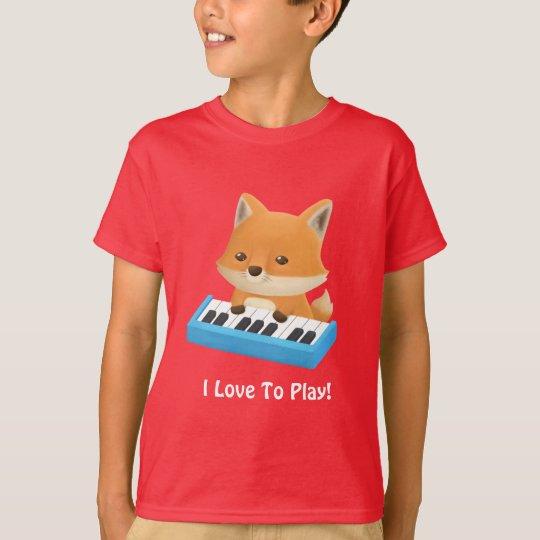 Cute Little Fox I Love to Play Piano