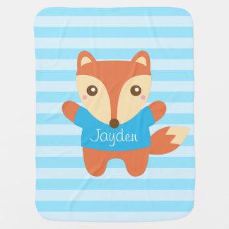 Cute little fox in blue, for baby boy baby blanket