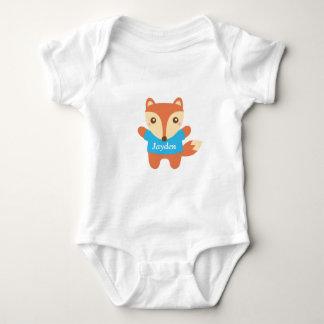 Cute little fox in blue, for baby boy baby bodysuit