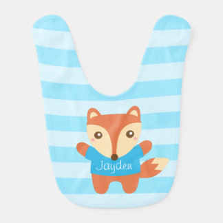 Cute little fox in blue, for baby boy bib